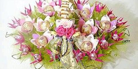 Як з цукерок зробити букет квітів